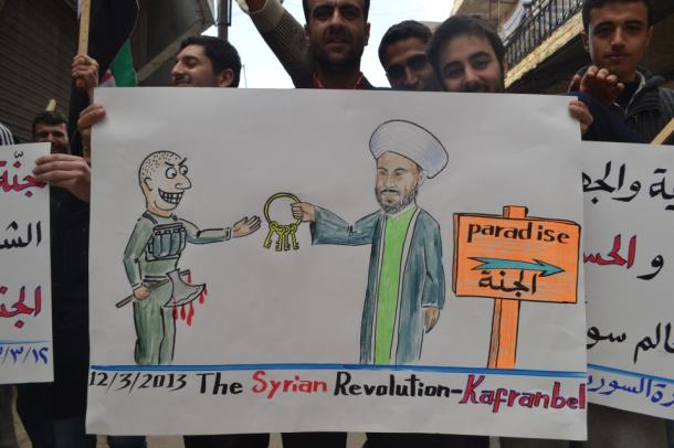 "Paradise: One of the many witty cartoons by opposition in Kafranbel, Idlib Province.  Image source: ""Signs of Occupied Kafranbel"" Facebook Page"