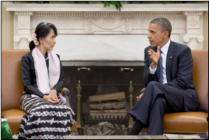 "President Obama with Burmese Nobel Laureate and opposition leader for the National League of Democracy Party Aung San Suu Kyi. Image source: Official White House Photo by Pete Souza, ""President Obama Meets with Aung San Suu Kyi,"" 20 Sept. 2012"