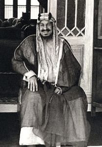 King Abdulaziz Ibn Saud founded the Kingdom of Saudi Arabia in 1932 after conquering most of central Arabia. Ibn Saud ruled during the country's discovery of petroleum in 1939. The incumbent, King Abdullah, is one of Ibn Saud's 45 sons. Image courtesy of Wikimedia Commons.