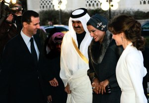 "Qatar's Sheikh Hamad and his wife (centre) being greeted by Bashar and Asma al-Assad in Syria, 2008. Image source: ""How Qatar Sized Control of the Syrian Revolution,"" Financial Times"