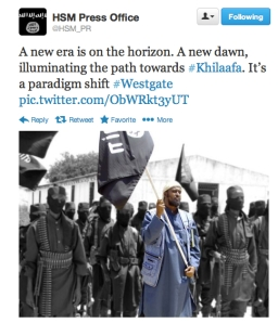 "Shabaab's Twitter post during the attack; khilafa means Caliphate in Arabic. Image source: ""Shabaab Threatens 'Big Surprise' as Siege at Kenyan Mall Continues,"" Long War Journal"