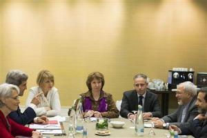 "U.S. Secretary of State John Kerry, second left, meets with EU High Representative for Foreign Affairs, Catherine Ashton, center, and Iranian Foreign Minister Mohammad Javad Zarif, second right, at the Iran Nuclear talks in Geneva, 9 November 2013.  Image source: ""Kerry Sees Nuclear Deal with Iran as Diplomacy Warms,"" Reuters"