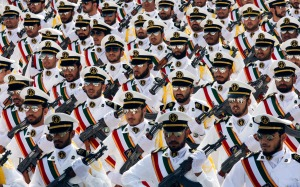 Revolutionary Guardsmen March in Parade in Tehran, Reuters