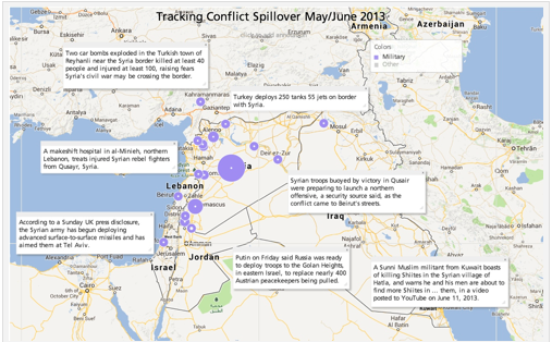 Spillover Effect: The site Analysis Intelligence provides an excellent interactive map that illustrates the conflict's regional effect.  Zoom in on the neighboring countries for a closer look at the varying violent activity that is linked to the Syrian conflict.