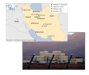 "Top: ""Iran's Key Nuclear Sites,"" BBC Bottom: Natanz Nuclear Facility, ""Iran Halts Uranium Enrichment under Nuclear Deal,"" The Guardian"